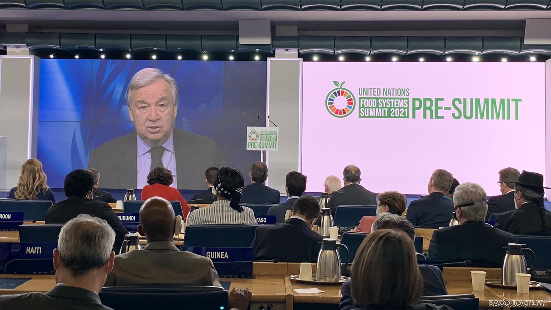 Tổng Thư ký LHQ António Guterres phát biểu khai mạc ội nghị Trù bị cho Thượng đỉnh Hệ thống lương thực