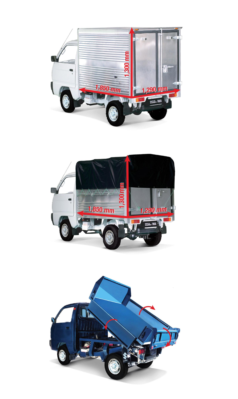 Khách hàng Suzuki Carry Truck Truck có nhiều lựa chọn thùng xe: thùng kín, mui bạt, thùng ben (theo thứ tự từ trên xuống)