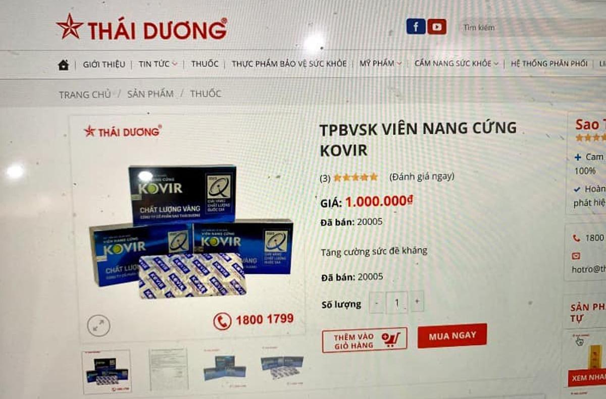 Sản phẩm Kovir của công ty Sao Thái Dương tăng giá chóng mặt.