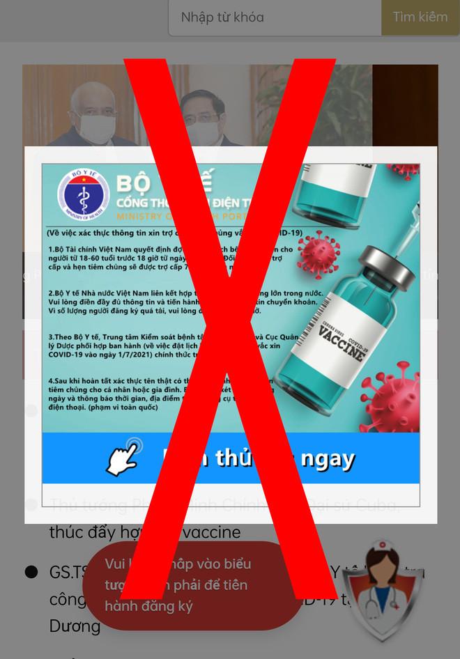 Giả mạo website đăng ký tiêm chủng của Bộ Y tế để đánh cắp tài khoản ngân hàng - Ảnh 2.