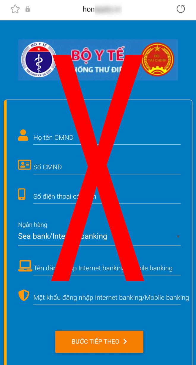 Giả mạo website đăng ký tiêm chủng của Bộ Y tế để đánh cắp tài khoản ngân hàng - Ảnh 3.