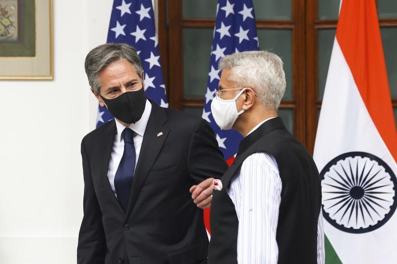 Ngoại trưởng Mỹ Antony Blinken và người đồng cấp Ấn Độ Jaishankar tại New Delhi ngày 28/8. (Nguồn: Twitter)