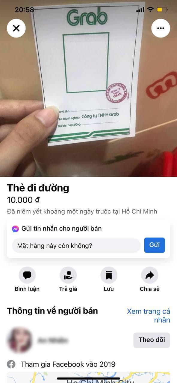 Giấy thông hành giả mạo Grab bày bán tràn lan trên Facebook với giá 10.000 đồng - Ảnh 1.