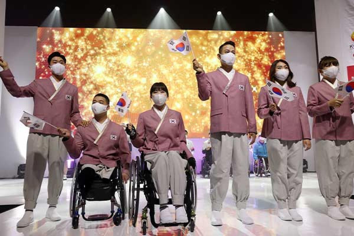 Các VĐVParalympic Hàn Quốc tại lễ xuất quân. (Ảnh: Yonhap).