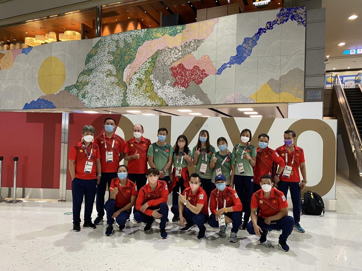 Các VĐV, HLV Việt Nam chuẩn bị về nước sau khi làm nhiệm vụ ở Olympic Tokyo. (Ảnh: Đoàn thể thao Việt Nam).
