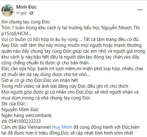 Gia đình diễn viên Minh Đức kêu gọi sự giúp đỡ cho người già và trẻ em trong khu cách ly
