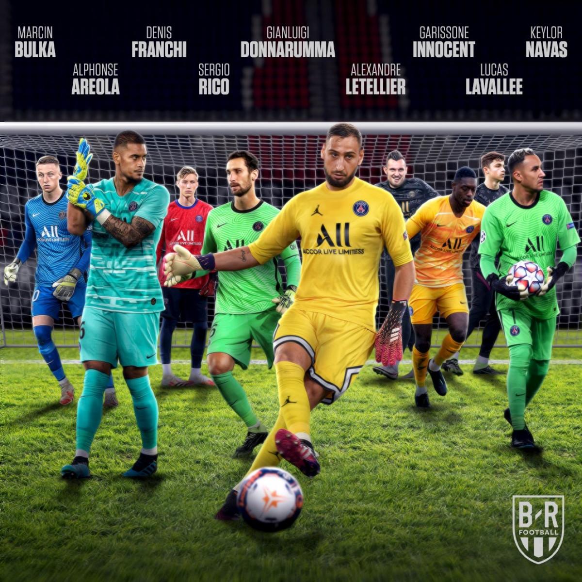 PSG có tới 9 thủ môn trong đội hình. (Ảnh: Bleacher Reports)