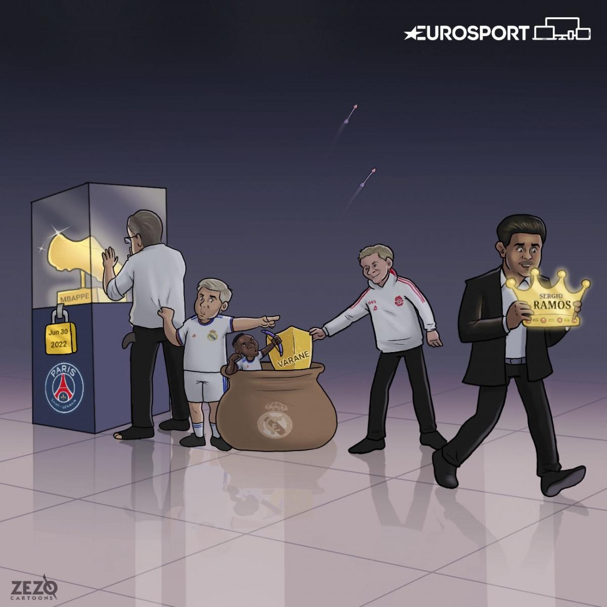 Real Madrid mải mê theo đuổi Kylian Mbappe và cái kết. (Ảnh: ZEZO Cartoons)