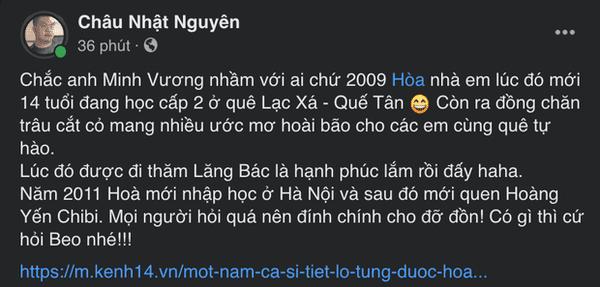 Minh Vương M4U tiết lộ Hòa Minzy từng yêu cháu trai mình 1