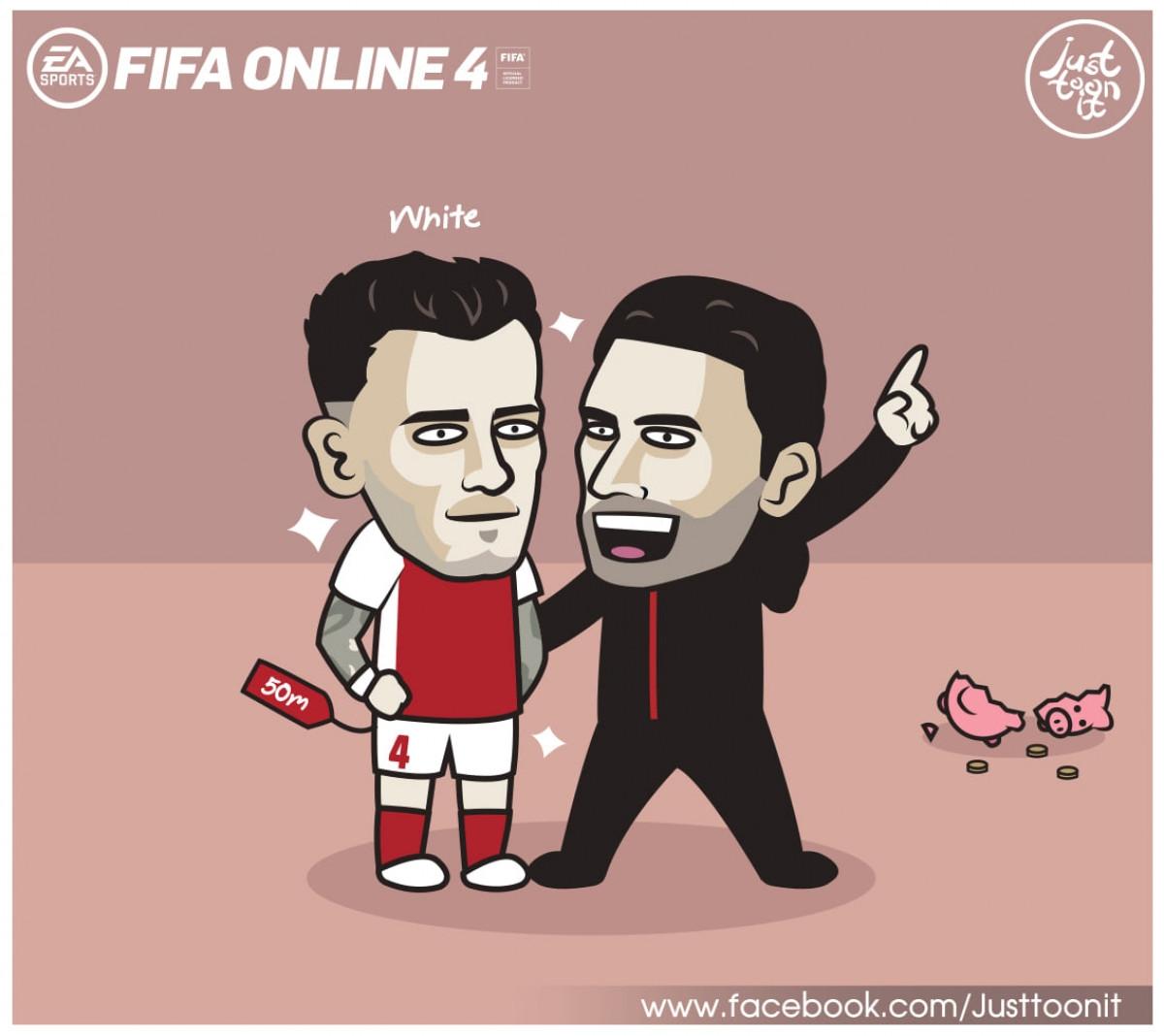 Tân binh trị giá 50 triệu bảng, Ben White đá trận ra mắt Arsenal. (Ảnh: Just Toonit).