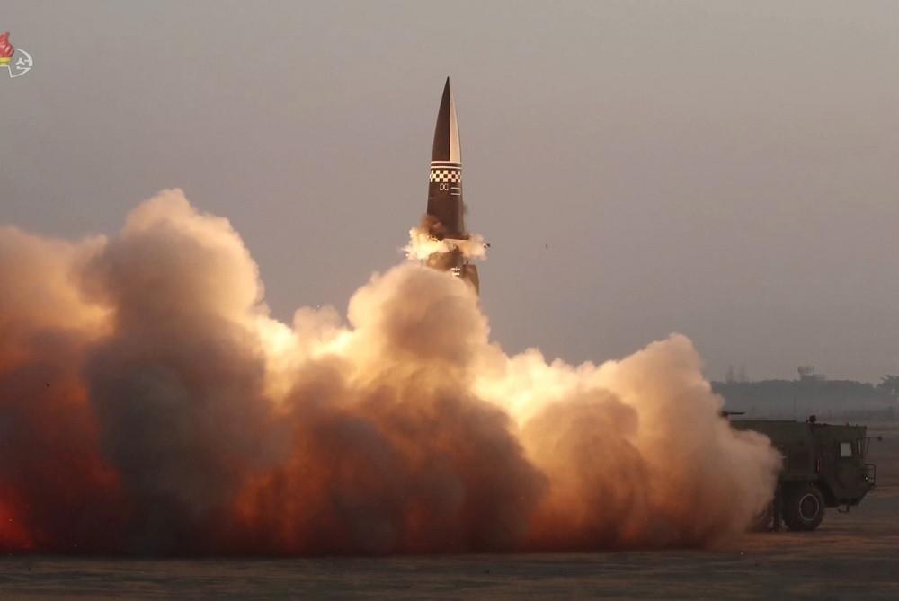 Triều Tiên phóng thử tên lửa dẫn đường chiến thuật kiểu với vào ngày 25/3.. (Nguồn: Yonhap)