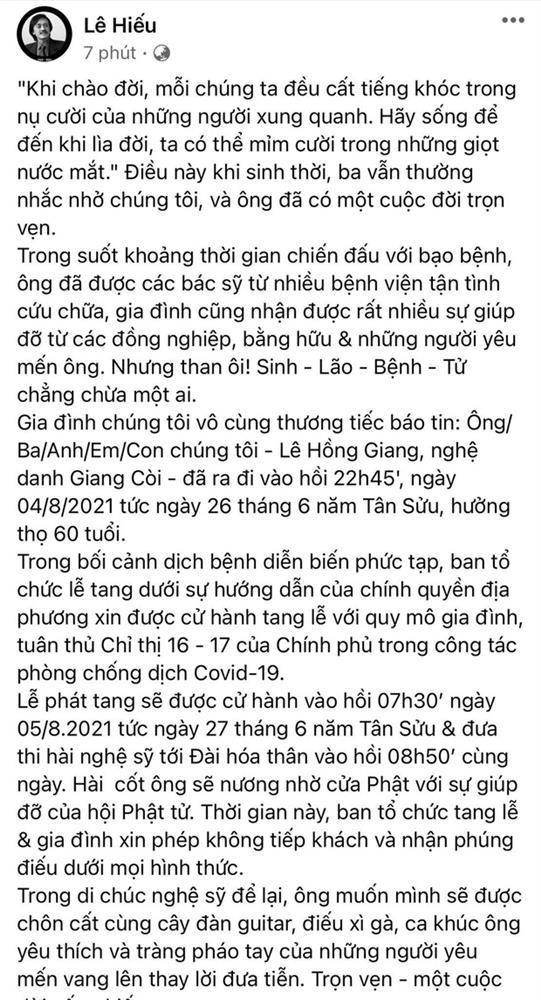Không khí đau buồn trong tang lễ cố nghệ sĩ Giang Còi-2
