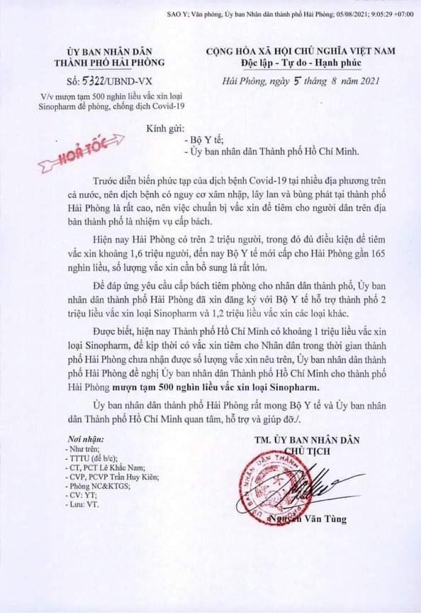 Hải Phòng hỏa tốc đề nghị TP.HCM cho mượn 500.000 liều vaccine Sinopharm - 1