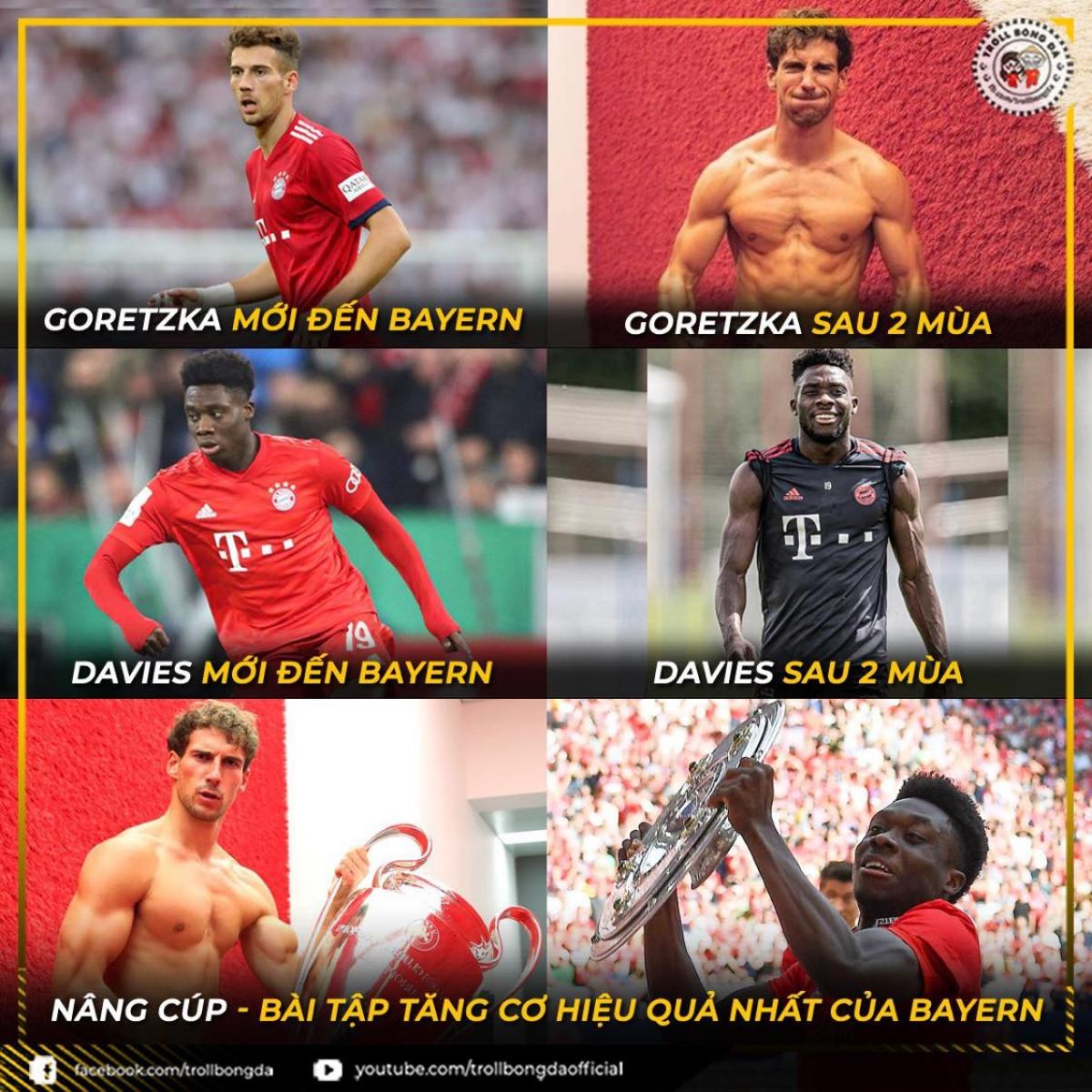 Các cầu thủ cơ bắp hơn nhiều khi đến với Bayern Munich. (Ảnh: Troll bóng đá).