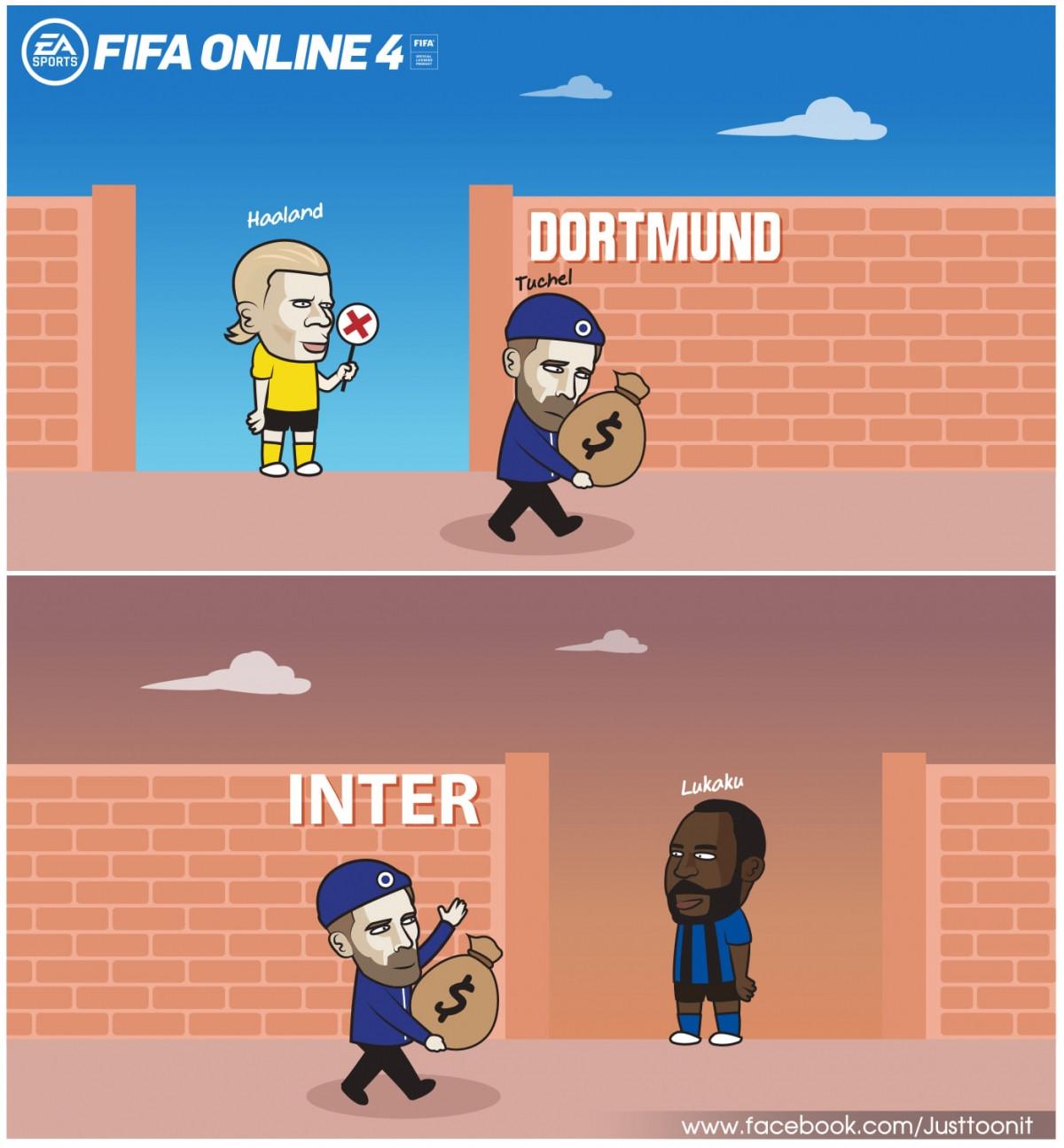 Không mua được Haaland, Chelsea chuyển hướng sang Lukaku. (Ảnh: Just Toonit).