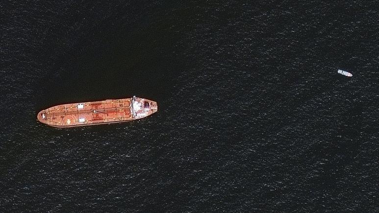 Tàu chở dầu Mercer Street ở ngoài khơi bờ biển Fujairah, Các Tiểu vương quốc Arab Thống nhất, ngày 4/8. (Nguồn: Maxar Technologies)