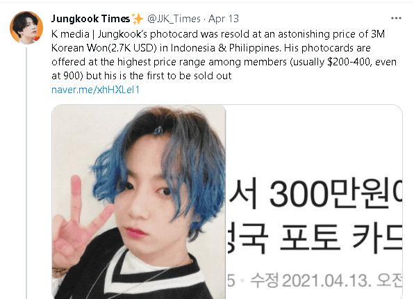 Photocard của Jungkook (BTS) là photocard được bán ra đắt nhất ở Kpop!