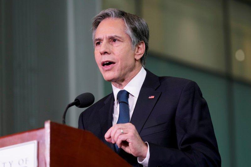 Ngoại trưởng Mỹ Antony Blinken phát biểu khi thăm Đại học Maryland, ngày 9/8. (Nguồn: Reuters)