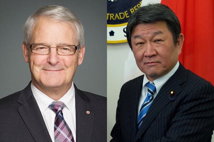 Ngoại trưởng Nhật Bản Motegi Toshimitsu ngày 12/8 đã bày tỏ quan ngại với người đồng cấp Canada Marc Garneau. (Nguồn: CNA)