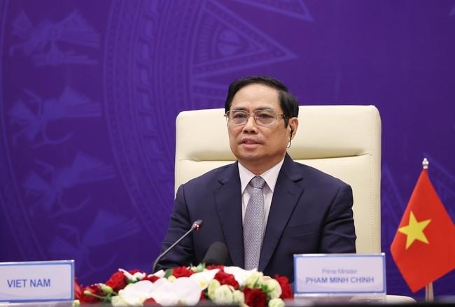 Thủ tướng Phạm Minh Chính phát biểu tại phiên thảo luận mở cấp cao của HĐBA về Tăng cường an ninh biển vào tối 9/8. (Nguồn: TTXVN)