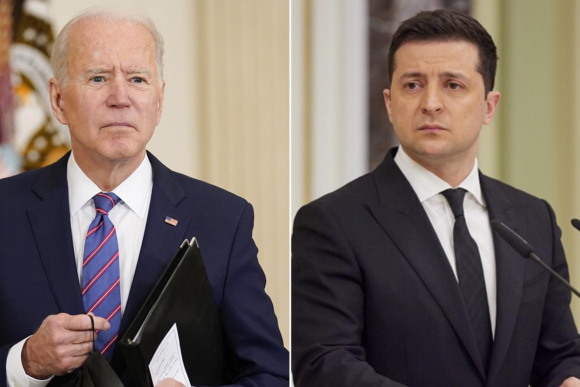 Tổng thống Mỹ Joe Biden và Tổng thống Ukraine Volodymyr Zelensky. (Nguồn: Getty)