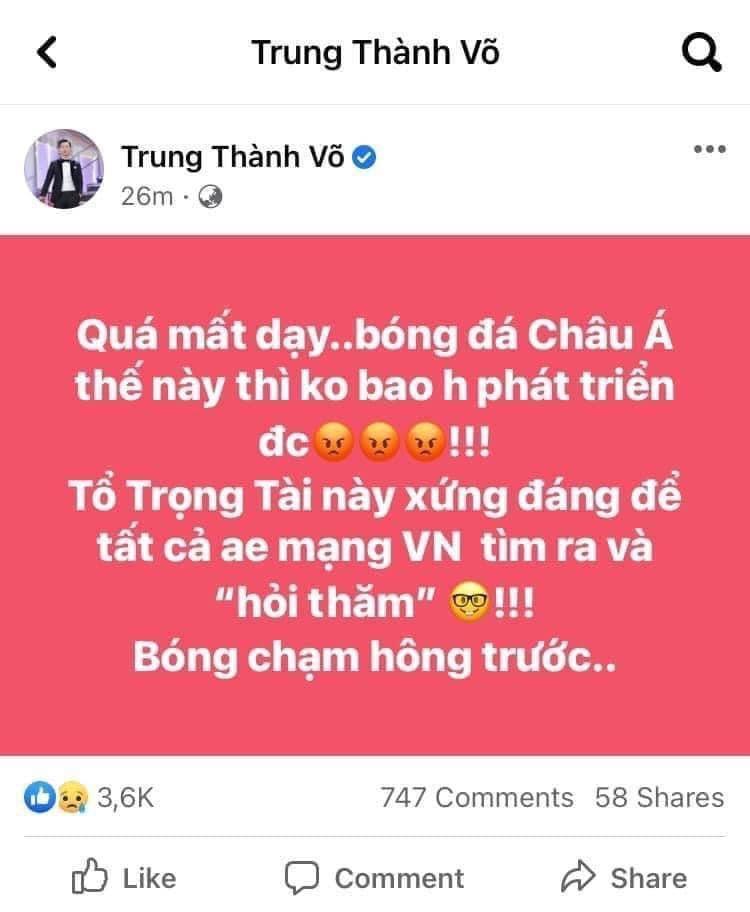 Thành Trung bị chỉ trích vì cổ vũ dân mạng tấn công trọng tài-2