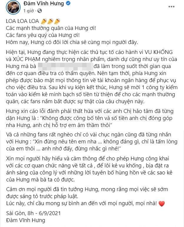 Đàm Vĩnh Hưng tuyên bố mời kiểm toán sao kê sau vụ kiện CEO