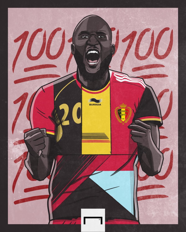 Romelu Lukaku ghi bàn trong trận thứ 100 khoác áo ĐT Bỉ. (Ảnh: Goal)