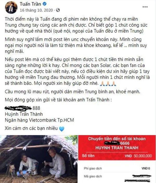 Bị 'bóc phốt' gửi 50 triệu quyên góp vào tài khoản khác của Trấn Thành, Tuấn Trần nói gì?