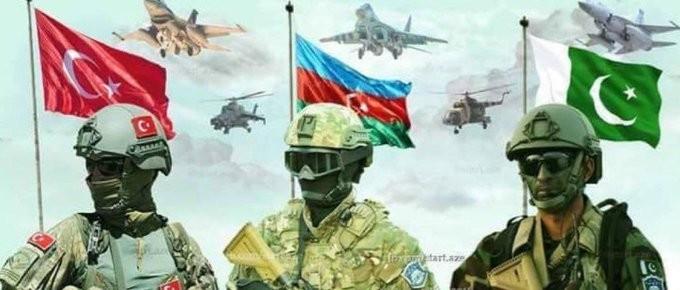 Azerbaijan, Thổ Nhĩ Kỳ và Pakistan sẽ tiến hành tập trận quân sự chung từ ngày 12-20/9 tại Baku. (Nguồn: Twitter)
