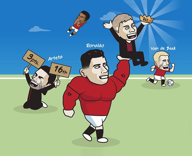 Ảnh chế: Ronaldo chói sáng ngày trở lại, đưa MU lên thẳng ngôi đầu - 1