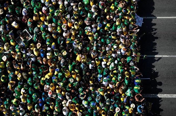 Hàng chục nghìn người tham gia cuộc biểu tình ủng hộ Tổng thống Brazil Jair Bolsonaro trong cuộc đối đầu giữa nhà lãnh đạo và Tòa án Tối cao, tại Sao Paulo, Brazil, ngày 7/9. (Nguồn: Reuters)