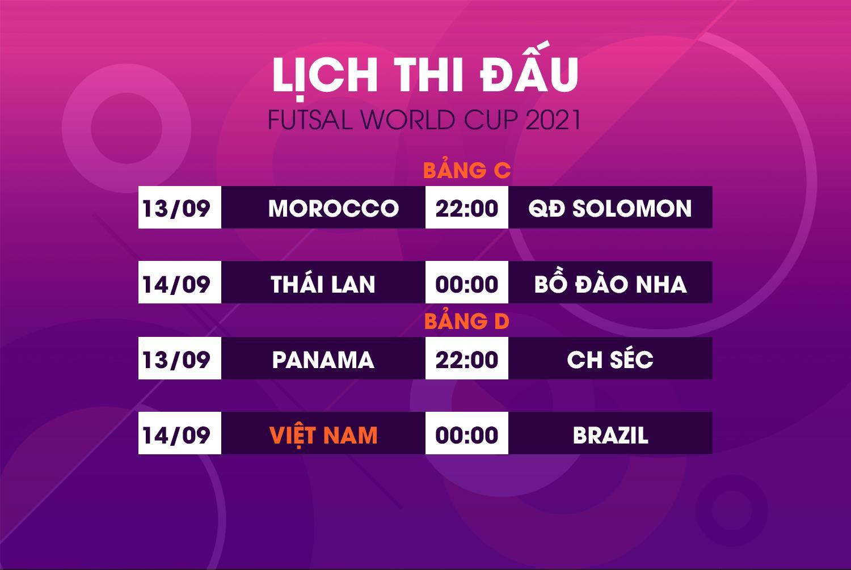 Lịch thi đấu World Cup futsal 2021 hôm nay 13/9 - 1