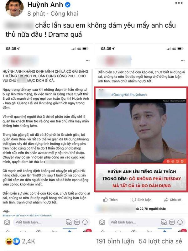 Diễn viên Huỳnh Anh: Bị gọi tên do scandal của… cầu thủ Quang Hải