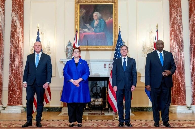 Bộ trưởng Bộ Quốc phòng Úc Peter Dutton, trái, Bộ trưởng Ngoại giao Marise Payne, Bộ trưởng Ngoại giao Hoa Kỳ Antony Blinken và Bộ trưởng Quốc phòng Lloyd Austin tại Bộ Ngoại giao ở Washington, ngày 16 tháng 9. (Nguồn: Reuters)