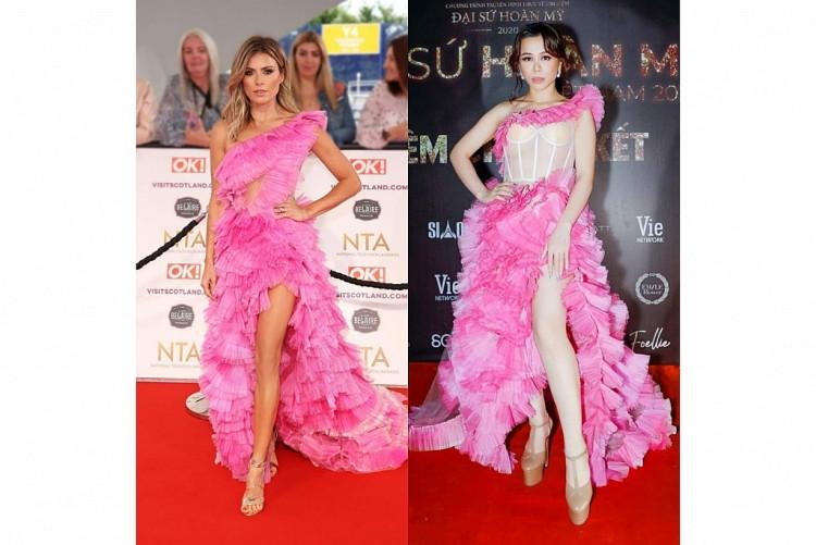 Nữ diễn viên Zoe Hardman đụng hàng Hoa hậu Oanh Lê với chiếc đầm hồng bồng bềnh