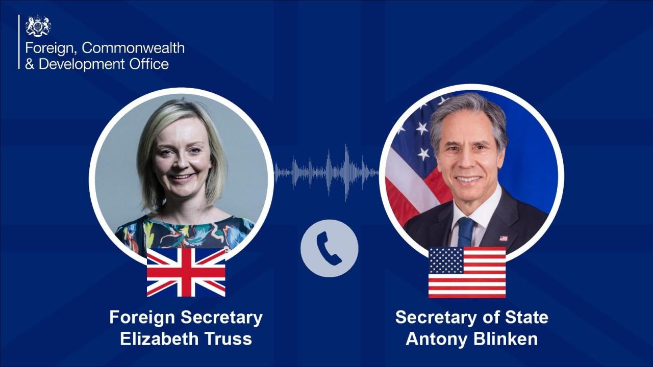 Ngoại trưởng Anh Liz Truss cho biết, bà đã thảo luận với người đồng cấp Mỹ Antony Blinken về thỏa thuận đối tác quốc phòng và an ninh Australia - Anh - Mỹ ở khu vực Ấn Độ Dương-Thái Bình Dương (AUKUS). (Nguồn: twitter)