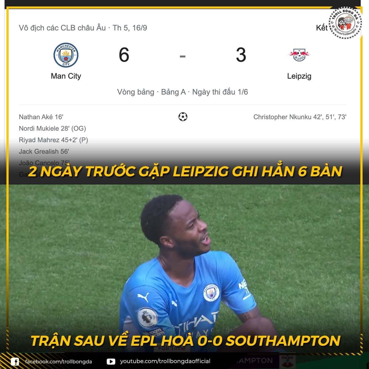 Man City bất lực ở Ngoại hạng Anh sau trận đấu tưng bừng tại Champions League. (Ảnh: Troll Bóng đá).