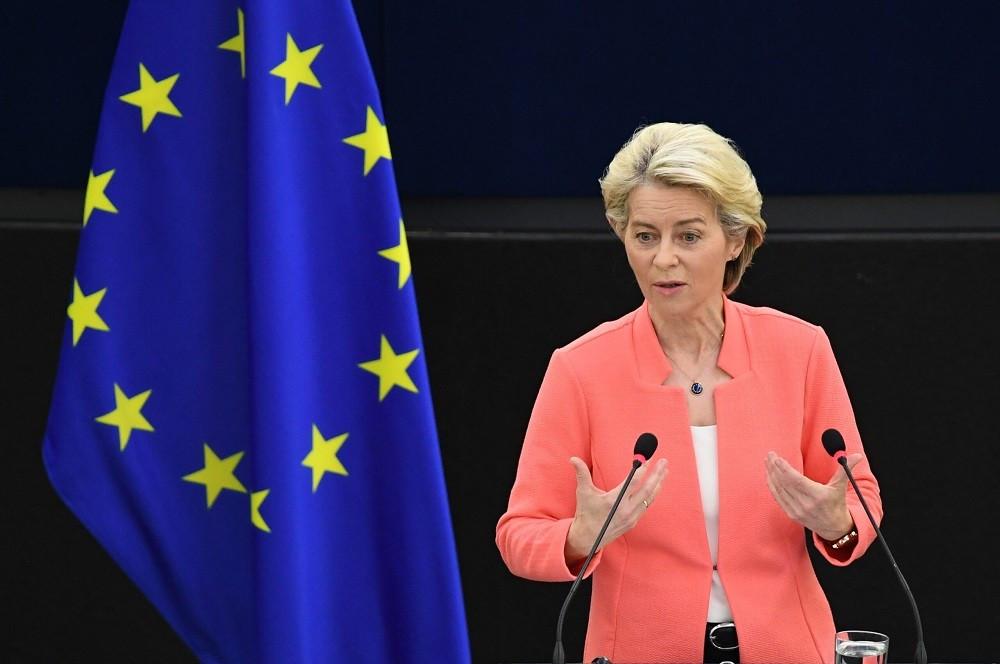 (09.21) Chủ tịch Ủy ban châu Âu Ursula Von der Leyen trình bày Thông điệp Liên minh ngày 16/9. (Nguồn: AFP)