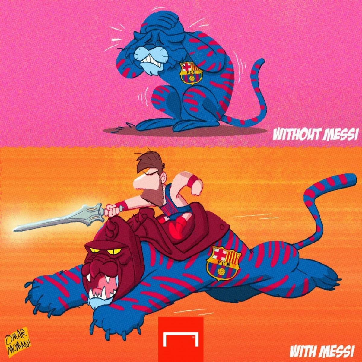 Barca hoá tầm thường khi không còn Messi. (Ảnh: Omar Momani)