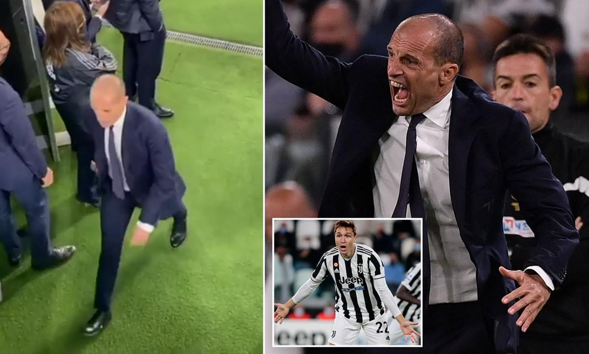 HLV Max Allergi chửi rủa các cầu thủ Juventus sau trận hoà AC Milan. (Ảnh: Daily Mail)