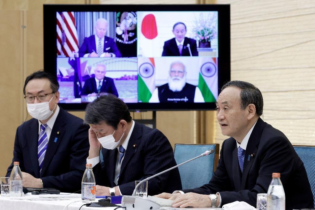 """Hôm 12.3, hội nghị thượng đỉnh đầu tiên của """"bộ tứ kim cương"""" gồm Mỹ, Nhật Bản, Úc và Ấn Độ đã diễn ra dưới hình thức trực tuyến REUTERS"""