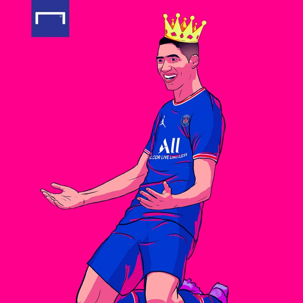 Achraf Hakimi toả sáng giúp PSG thắng Metz. (Ảnh: Goal)