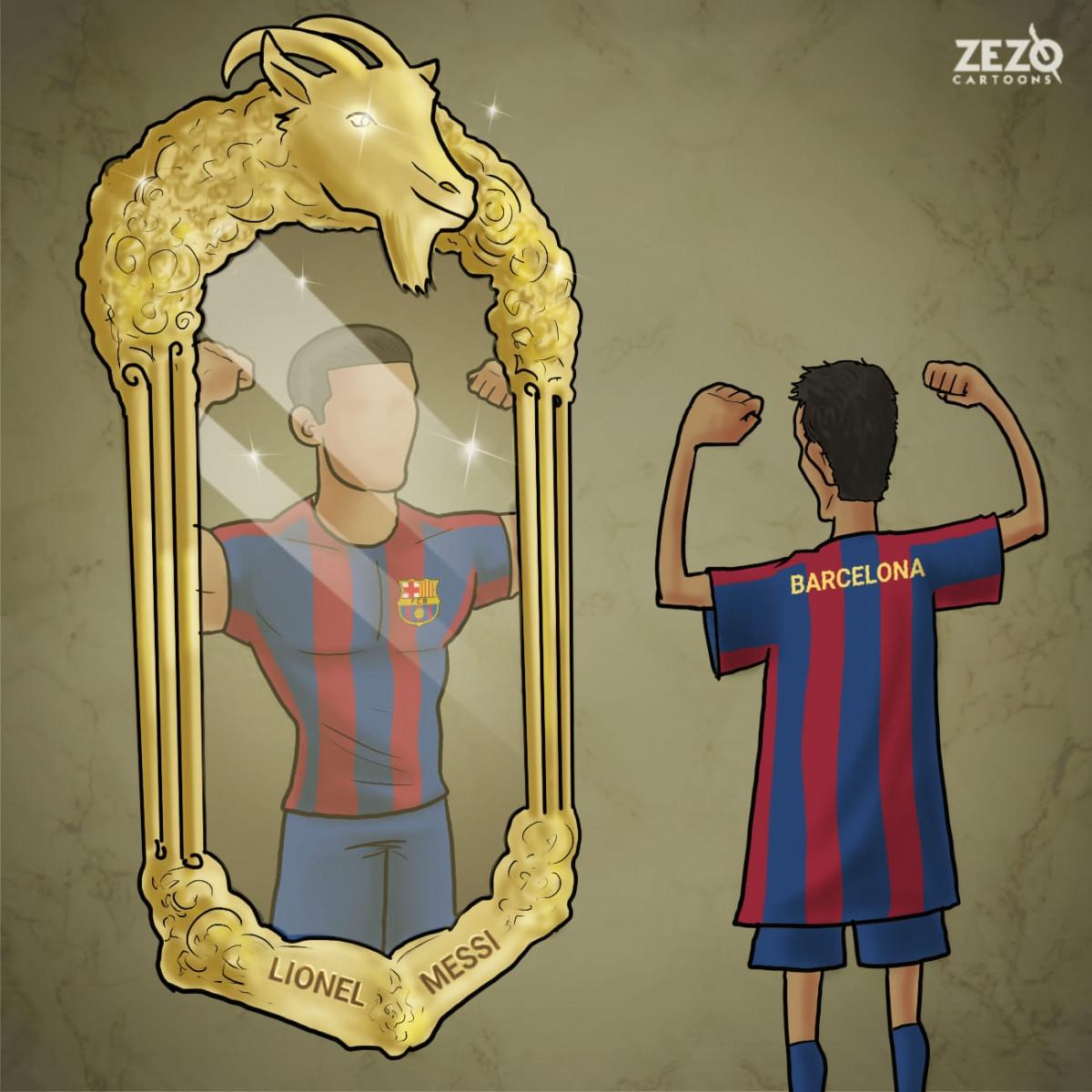 Barca khi không còn Lionel Messi. (Ảnh: ZEZO Cartoons)