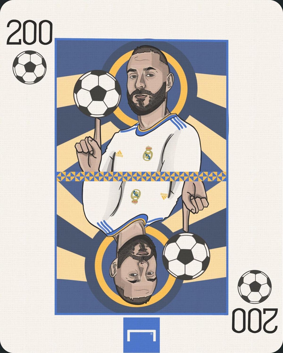 Karim Benzema cán mốc 200 bàn thắng ở La Liga. (Ảnh: Goal)