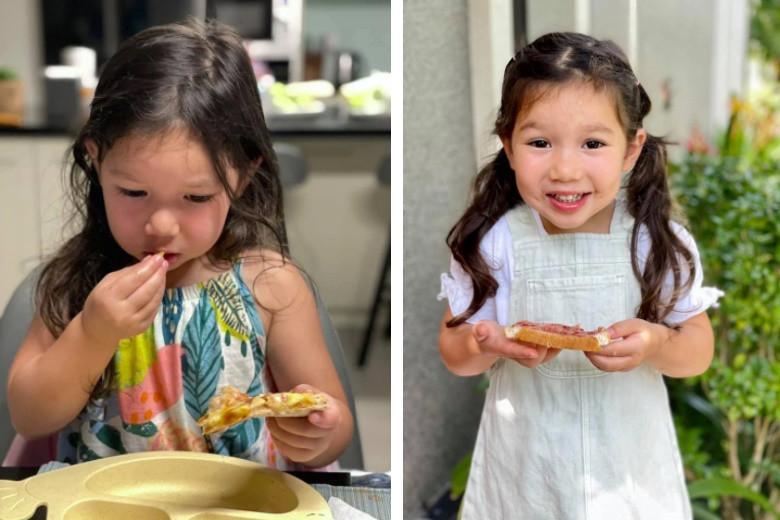 Con gái Hà Anh ăn sáng thôi cũng siêu cool, chỉ 1 câu nói này của mẹ mà bé tự ăn hết các món-1
