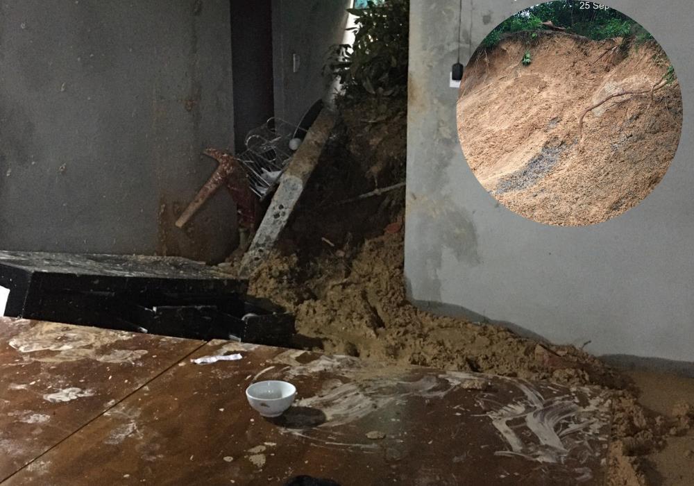 Hà Tĩnh: Mưa lớn nhiều ngày, đất đá đổ sập nhà dân, 2 cháu nhỏ bị thương - 1