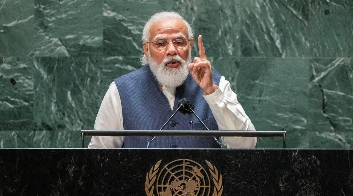 Thủ tướng Ấn Độ Narendra Modi phát biểu tại kỳ họp Đại hội đồng Liên hợp quốc khóa 76, ngày 25/9. (Nguồn: Reuters)
