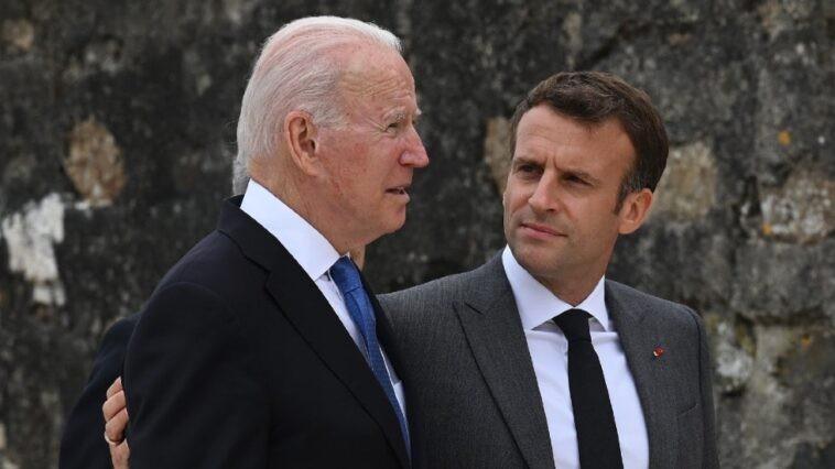 Tổng thống Mỹ Joe Biden và người đồng cấp Pháp Emmanuel Macron. (Nguồn: Getty)