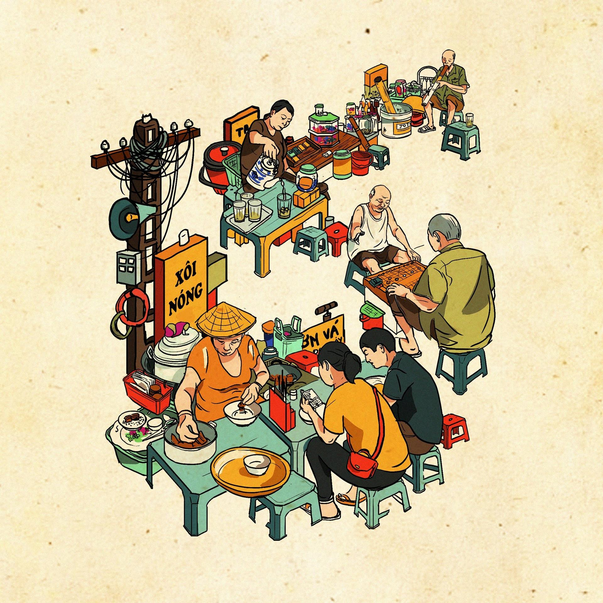 Hà Nội 'lạ mà quen' qua tranh của những họa sĩ trẻ - 11